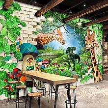 BYSQX Non-Woven Wallpaper Green Grass Giraffe