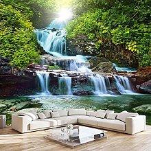 BYSQX Non-Woven Wallpaper Green Grass Waterfall