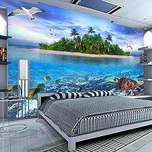 BYSQX Non-Woven Wallpaper Green Island Fish