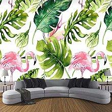BYSQX Non-Woven Wallpaper Green Leaves Flamingo