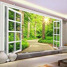 BYSQX Non-Woven Wallpaper Green Sunlight Path