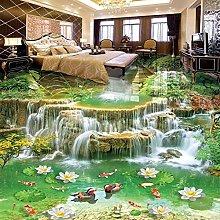 BYSQX Non-Woven Wallpaper Green Waterfall Goldfish
