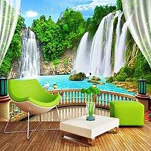 BYSQX Non-Woven Wallpaper Green Waterfall