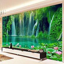 BYSQX Non-Woven Wallpaper Green Waterfall Lotus