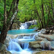 BYSQX Non-Woven Wallpaper Green Waterfall River