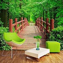 BYSQX Non-Woven Wallpaper Green Wooden Bridge