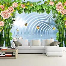 BYSQX Non-Woven Wallpaper Roses Flowers Swan