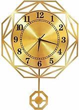 C-J-Xin Golden Pendulum Clock, Metal Hollow Wall