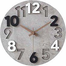 C-J-Xin Round Wall Clock, Roman Grey Stone Texture