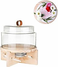 C-J-Xin Wooden Cake Plate with Glass Lid, Pie