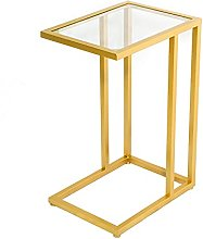 C-shaped Table Tempered Glass, Golden Wrought Iron