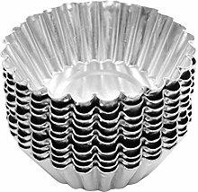Cabilock 100pcs Aluminum Alloy Egg Tart Molds