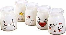 Cabilock 10pcs Glass Jars with Lids 150ml Yogurt