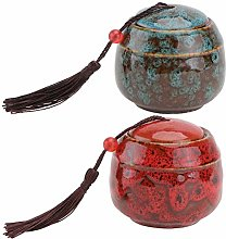 Cabilock 2pcs Chinese Ceramic Tea Canister Tea