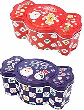 Cabilock 2pcs Christmas Cookie Gift Tins Candy