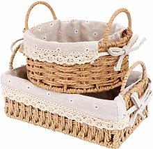 Cabilock 2Pcs Rattan Storage Baskets Woven Cotton