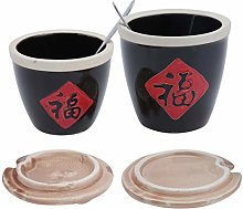 Cabilock 2Sets Ceramic Seasoning Jar Porcelain