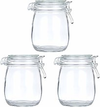 Cabilock 3pcs Clear Glass Canister Airtight