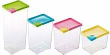 Cabilock 4pcs Plastic Grain Jar Airtight Food