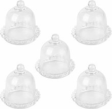 Cabilock 5pcs Glass Cloche with Top Handle Bell