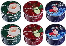 Cabilock 6Pcs Christmas Cookie Gift Tins Xmas