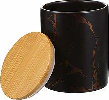 Cabilock Black Ceramic Food Storage Jars Cookie