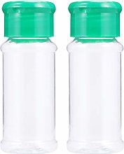 Cabilock Clear Plastic Spice Jars with Green Caps