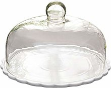 Cabilock Round Cake Dome Cover Glass Food Plate
