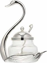 Cabilock Silver Glass Spice Jar with Lid and Spoon