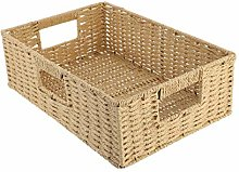Cabilock Woven Handles Basket Rattan Storage Bin