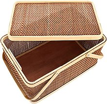 Cabilock Woven Storage Baskets with Lids Picnic