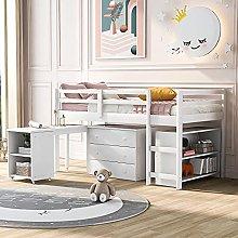 Cabin Bed, 3FT Loft Bed for Children,Pine Wood