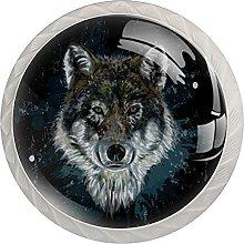 Cabinet Door Knobs Animal Wolf Multi Color