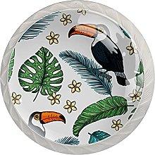 Cabinet Door Knobs Bird Multi Color Designed Glass
