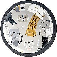 Cabinet Door Knobs Cartoon Tiger Cat Multi Color