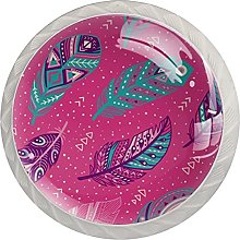 Cabinet Door Knobs Colorful Feathers Pink Multi