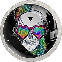 Cabinet Door Knobs Glasses Skull Multi Color