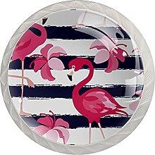 Cabinet Door Knobs Pink Flamingo Flowers Multi