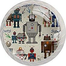 Cabinet Door Knobs Retro Robot Multi Color