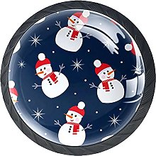 Cabinet Door Knobs Snowman with Snowflakes Multi