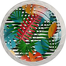 Cabinet Door Knobs Tropical Leaves Stripes Multi