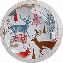 Cabinet Drawer Knobs Christmas Forest with Winter