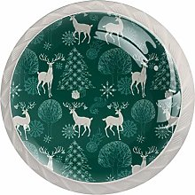 Cabinet Drawer Knobs Green Christmas Forest with