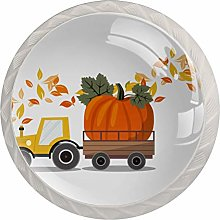 Cabinet Drawer Knobs Harvest Truck with Pumpkin