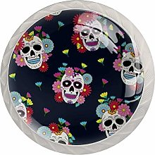 Cabinet Drawer Knobs Skull with Flower Pulls