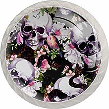 Cabinet Drawer Knobs Skulls with Flowers