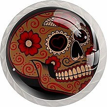 Cabinet Drawer Knobs Sugar Skull with Red Flowers