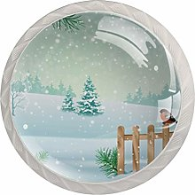 Cabinet Drawer Knobs Winter Landscape with Fence