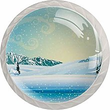 Cabinet Drawer Knobs Winter Landscape with Frozen
