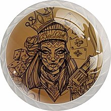 Cabinet Drawer Knobs Woman with Halloween Makeup